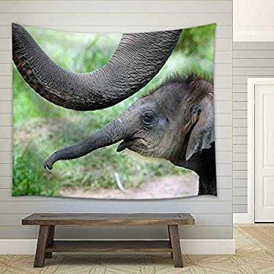 Lovely Style, Baby Elephant Side by Side with Its Mother Fabric Wall, Made With Top Quality