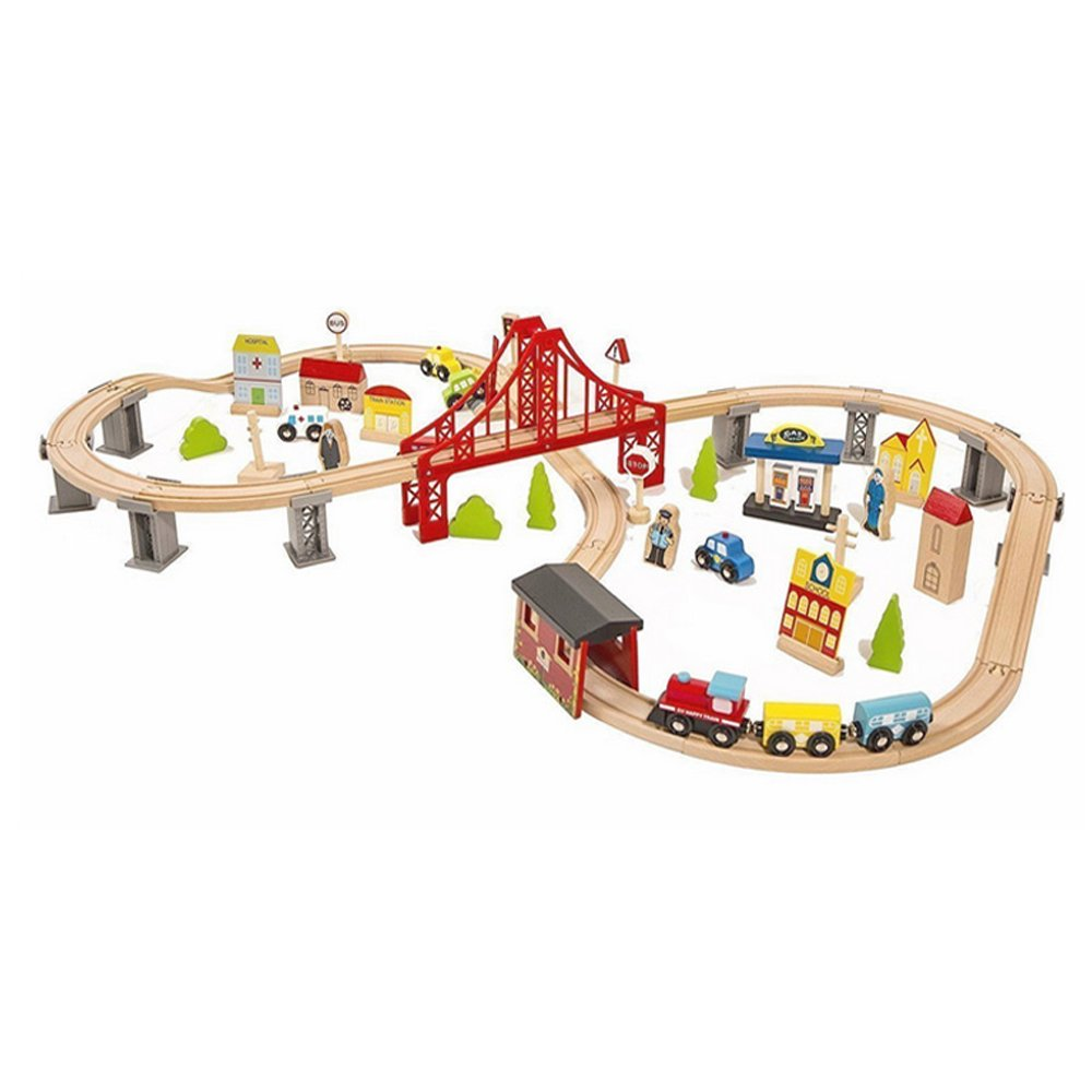 london-kate 70 Pcs Deluxe Wooden Train Set Fits Thomas, Brio, Chuggington, Melissa and Doug, Wooden Train B07FYQWG56