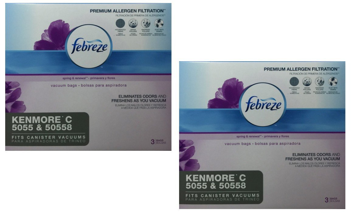 Febreze Odor Eliminating Vacuum Bags, Kenmore C 5055 & 50558, 3 bags, 2 Pack (6 Total Bags)