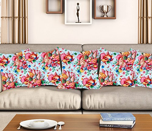 Aart multi color floral pattern designer Cushion Cover with filler (Set of 5) 16x16