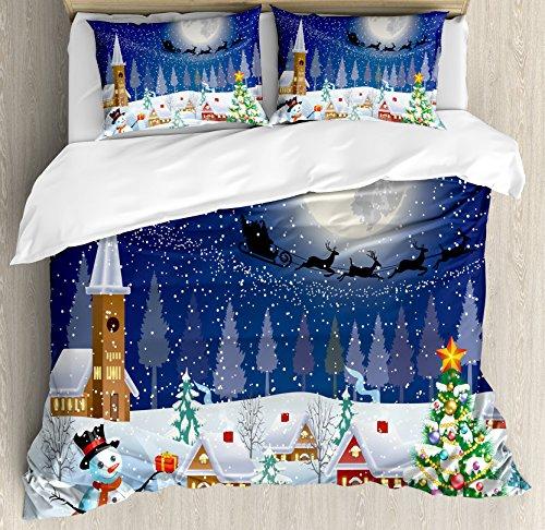 Ambesonne Christmas Duvet Cover Set King Size, Winter Season Snowman Xmas Tree Santa Sleigh Moon Present Boxes Snow and Stars, Decorative 3 Piece Bedding Set with 2 Pillow Shams, White Blue
