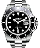 LOREO Mens Silver Stainless Steel Sapphire Glass Black Rotating Bezel Men's Automatic Watch