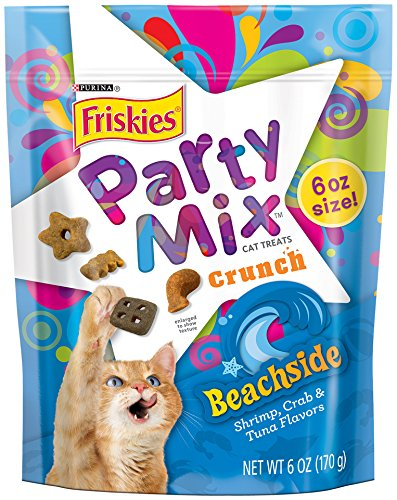 Friskies Party Mix Cat Treats, Beachside Crunch, Shrimp, Crab & Tuna Flavors, 6-Ounce Pouch, Pack of 7