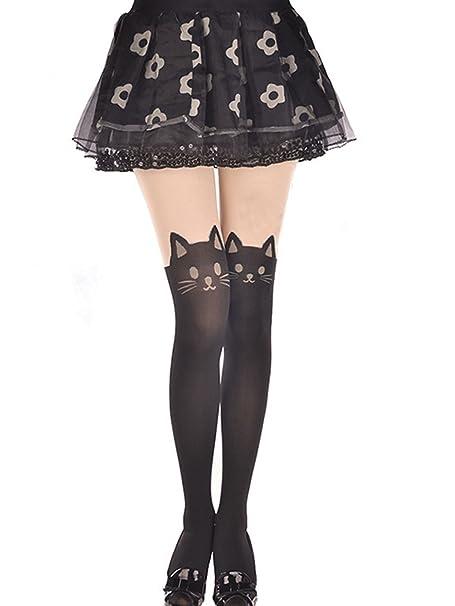12b8b46c0 Kitten Print Socks CAT Tail Tattoo Tights Pantyhose Stockings Underwear:  Amazon.ca: Clothing & Accessories