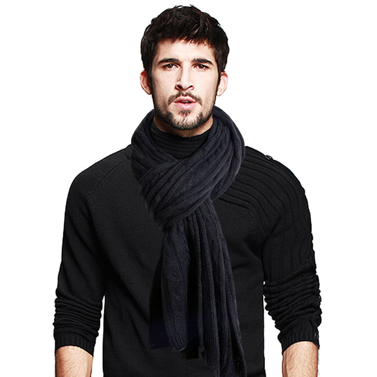 Men's Long Scarf Soft Warm Thick Knit Winter Scarves (Black& Grey) JESSE · RENA CF-E5002-Black