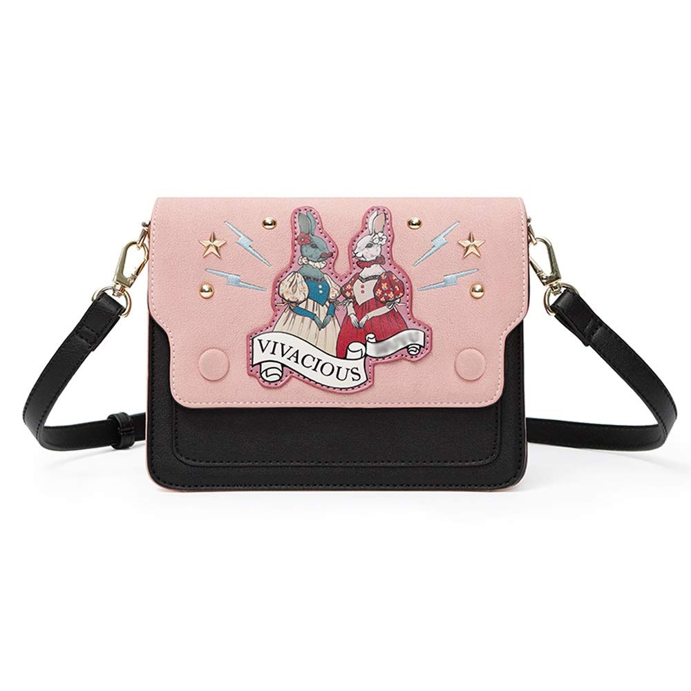 Small Fresh Cartoon Rabbit Casual Tobacco Girl Soft Face Joker One Shoulder Messenger Square Bag 20X7X15cm //-// DDSS Shoulder Bags PU//Polyester Cotton