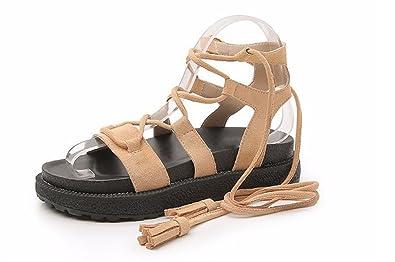 e6d1a25adf2 Roman Dress Shoes Platform Woven Thick-Bottom Bottom Sandals(Apricot-36 5