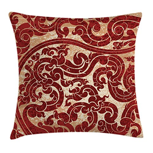 Antique Throw Pillow Cushion Cover by Ambesonne, Thai Culture Vector Abstract Background Flower Pattern Wallpaper Design Artwork Print, Decorative Square Accent Pillow Case, 18 X 18 Inches, Ruby