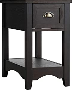 Giantex Chair Side End Table with Drawer, Retro Narrow Tiered Side Table, Compact Nightstand with Storing Shelf, End Table for Living Room Bedroom Home & Office (1, Reddish Brown)