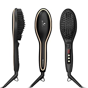 3 Pack USpicy Hair Straightener Brush with FREE Heat Resistant Glove for Silky Frizz-free Hair Straightening Brush Glamour Brush(450℉/230℃, Adjustable Temperature, Auto Lock, 30-min Timer, Anti-Scald)