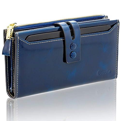 b2ffe615945675 bluzelle Echt-Leder Damen-Geldbörse - Hochwertig, Edel & Glanzvoll - Multi-