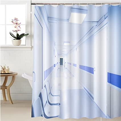 Gzhihine Shower Curtain Long Corridor In Hospital With Chairs Bathroom  Accessories 69 X 84 Inches