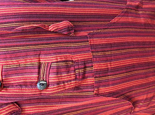 Shopoholic Moderno Multicolor dharke Rayas Abuelo Sudadera Con Capucha Camisa, ligero MAROON MIX