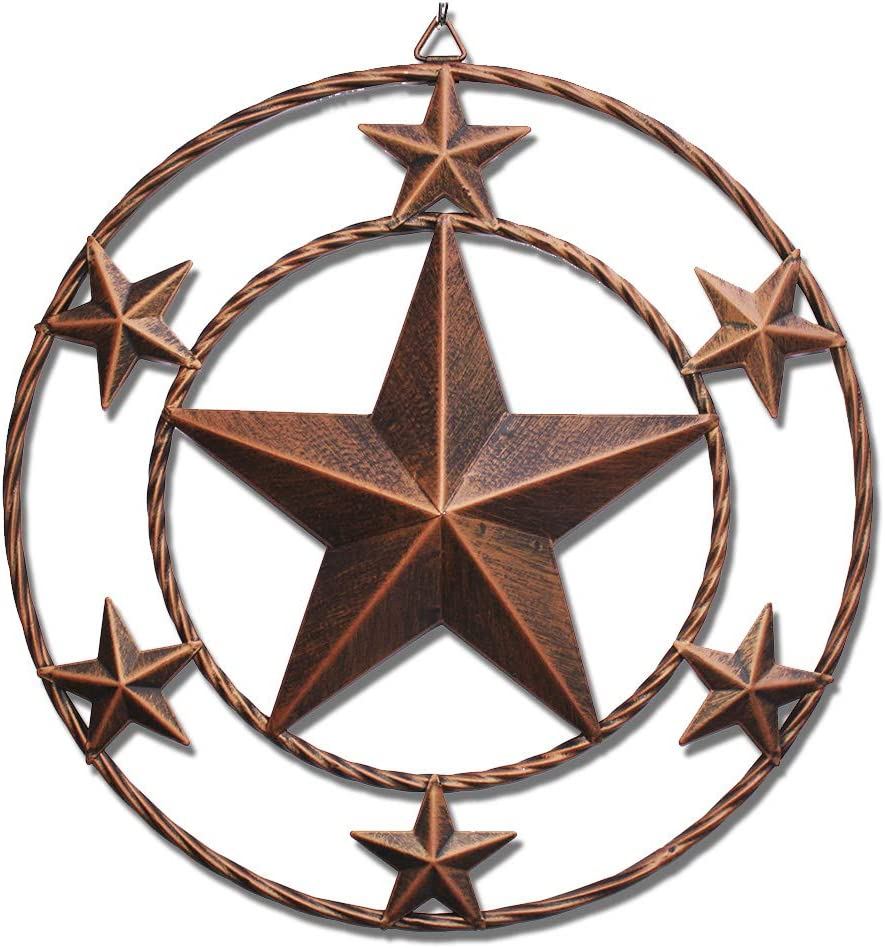 WIPHANY Texas Metal Barn Star Vintage Country Western Home Décor Circled Dark Brown 3D Stars