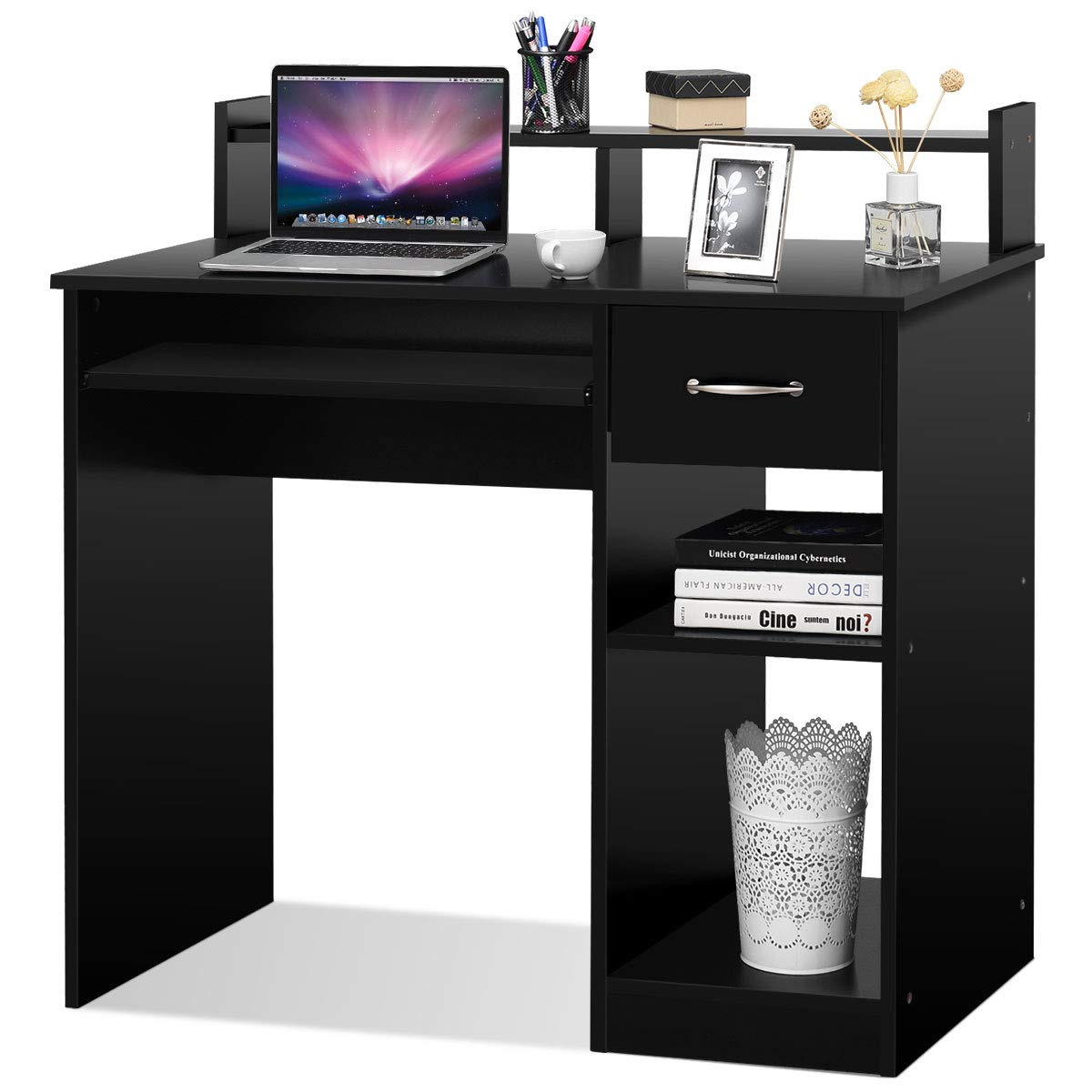 Tangkula Computer Desk, Home Office Wooden PC Laptop Desk, Modern Simple Style Wood Study Workstation, Writing Table with Storage Drawer & Shelves, Wooden Furniture (Black) by Tangkula