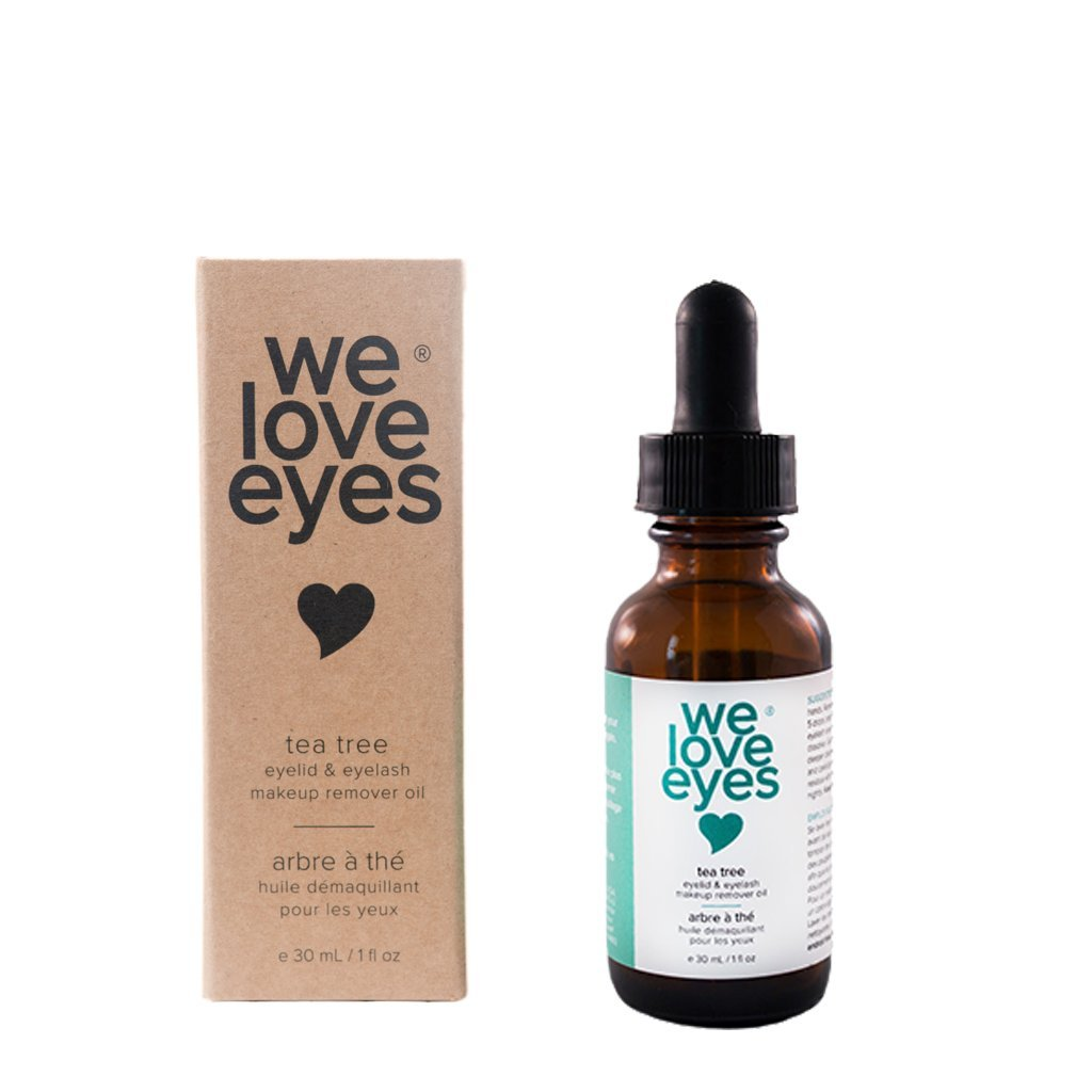 We Love Eyes- All Natural Tea Tree Eye Makeup Remover Oil - Waterproof Mascara Eyeliner - Wipe away Bacteria, Demodex, Debris - 100% Preservative Free - Australian Tea Tree Oil - 30ml