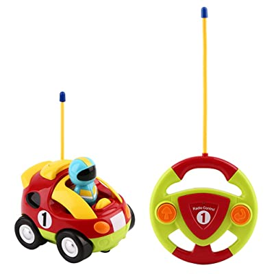 YKS Cartoon R/C Race Car Radio Control Toy for Toddlers and Kids, Red: Toys & Games