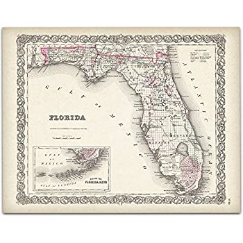 Map of Florida 1855 Art Print - 11x14 Unframed Art Print - Great Vintage Home Decor