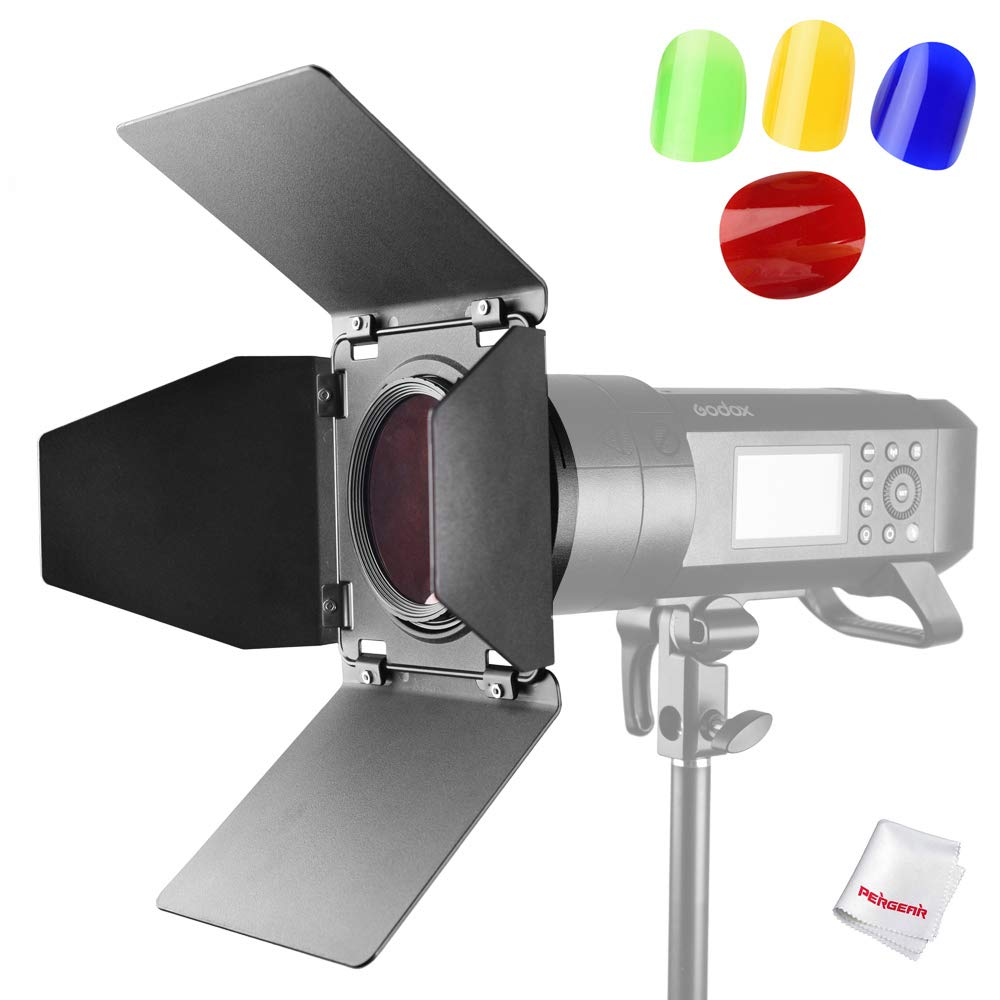 Godox BD-08 Barn Door for Godox AD400Pro All-in-One Outdoor Flash Light Speedlite with 4 Color Filters+Pergear Cloth by Godox