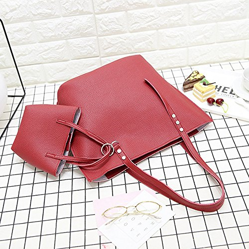 Bag Solid Black PU Women Shopper Color Red Wallet 4Pcs Beach Bag Leather Handbag Crossbody Bag Bag Shoulder Tote WFaxPnPf1