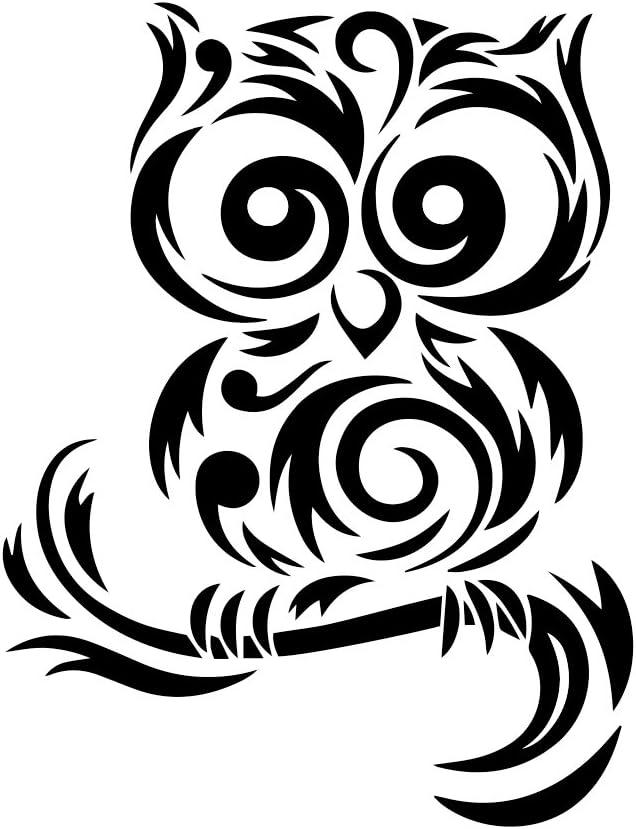 6 White Tribal Cute Owl Silhouette 6 Vinyl Sticker Car Decal