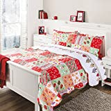 Bedsure 'Yule Tide' Printed Quilt Set -- Bedspread and Coverlet, Quilt and Sham, Hypo-allergic and Lightweight, King(106'x96'), Cherry
