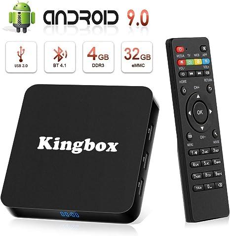 Android 9.0 TV Box [4GB RAM+32GB ROM], Kingbox Android TV Box 4K, USB 3.0, BT 4.1, UHD H.265, HDMI, Smart TV Box Quad Core WiFi Media Player, Box TV Android [2019 Versión