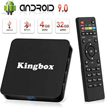 Android 9.0 TV Box [4GB RAM+32GB ROM], Kingbox Android TV Box 4K, USB 3.0,
