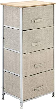 Fabric Cabinet Bedside Table Storage Unit Metal Frame Organiser Chest 5 Drawers
