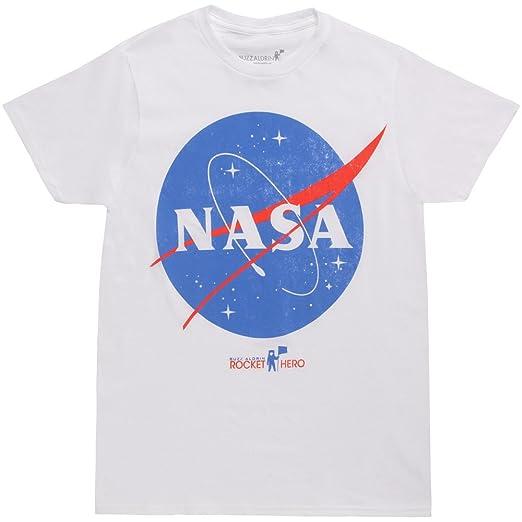18deba32 Amazon.com: Bioworld NASA Logo White T-Shirt: Clothing