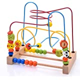 Wooden Cartoon Animals Circle Beads Maze Roller Coaster Toy for Early Educational Children Training
