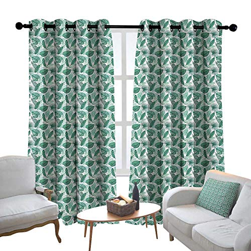 Blackout Curtains 2 Panels Banana Leaf,Monstera Areca and Fan Palm Leaves in Green Artistic Natural Pattern, Jade Green White,for Room Darkening Panels for Living Room, Bedroom 100