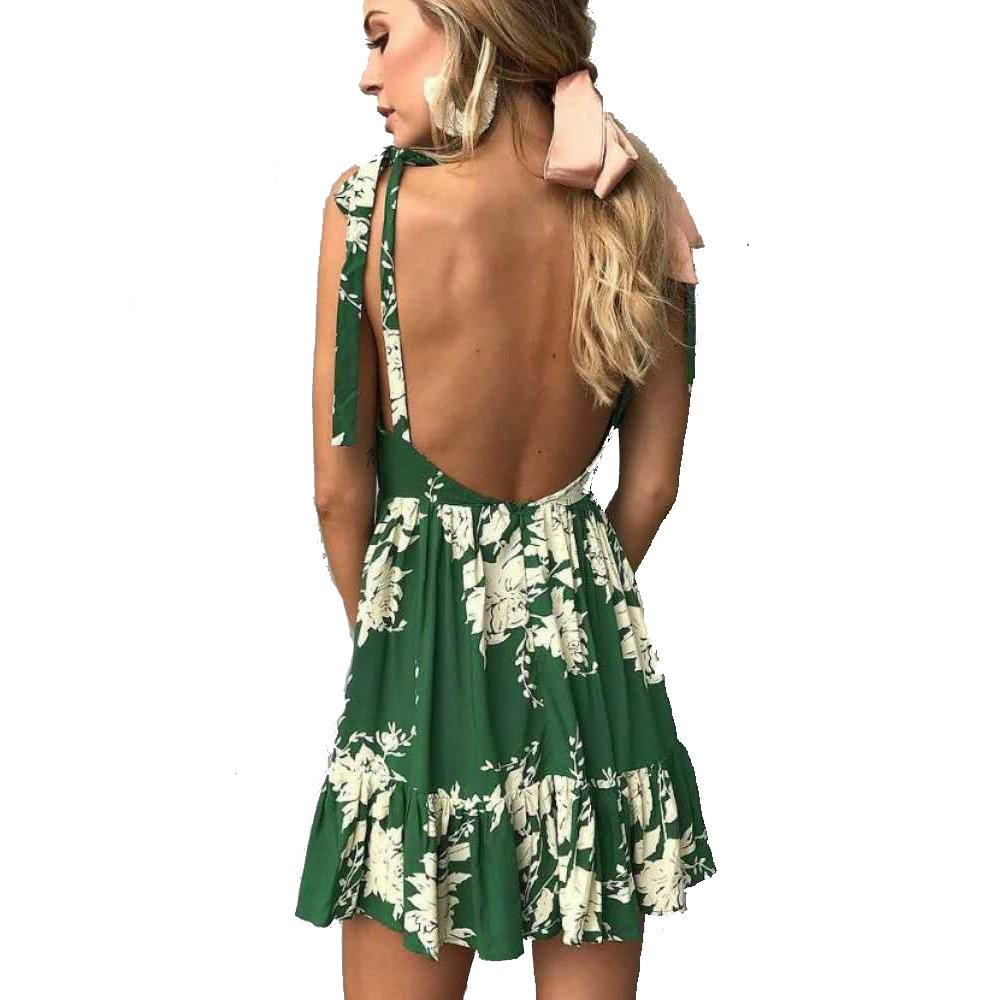 a609ba5624aed ilovgirl Summer Dresses with deep v Neck Floral Print Green Sexy Backless  Ruffles Mini Bohemian Casual Dresses for Women at Amazon Women s Clothing  store