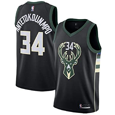 f9d2754d6 Amazon.com  Men s Milwaukee Bucks  34 Giannis Antetokounmpo Black ...
