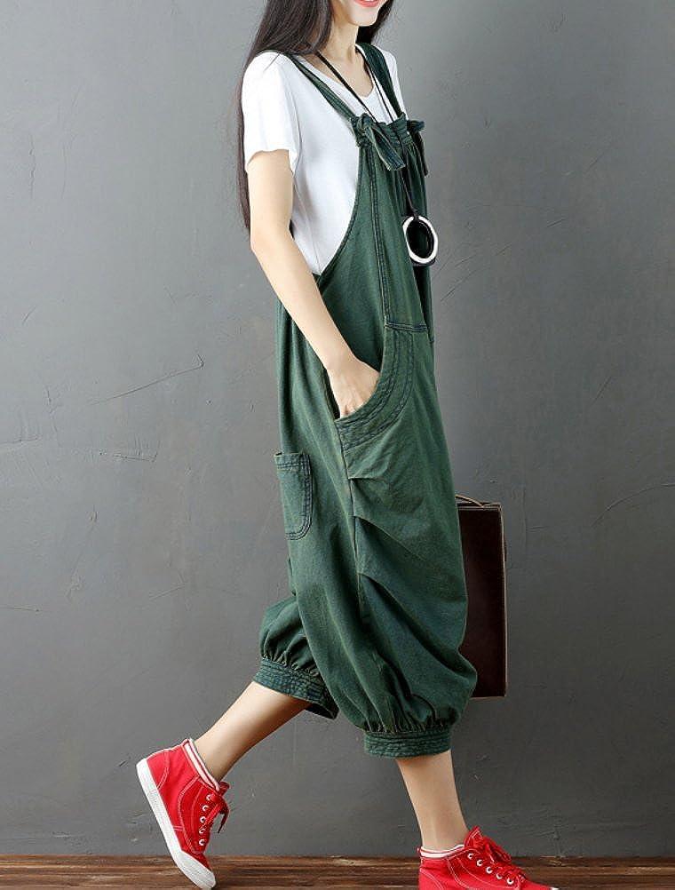 MatchLife Femme Salopette Retro Large Combinaison Casuelle Jumpsuit Bouffant Harem