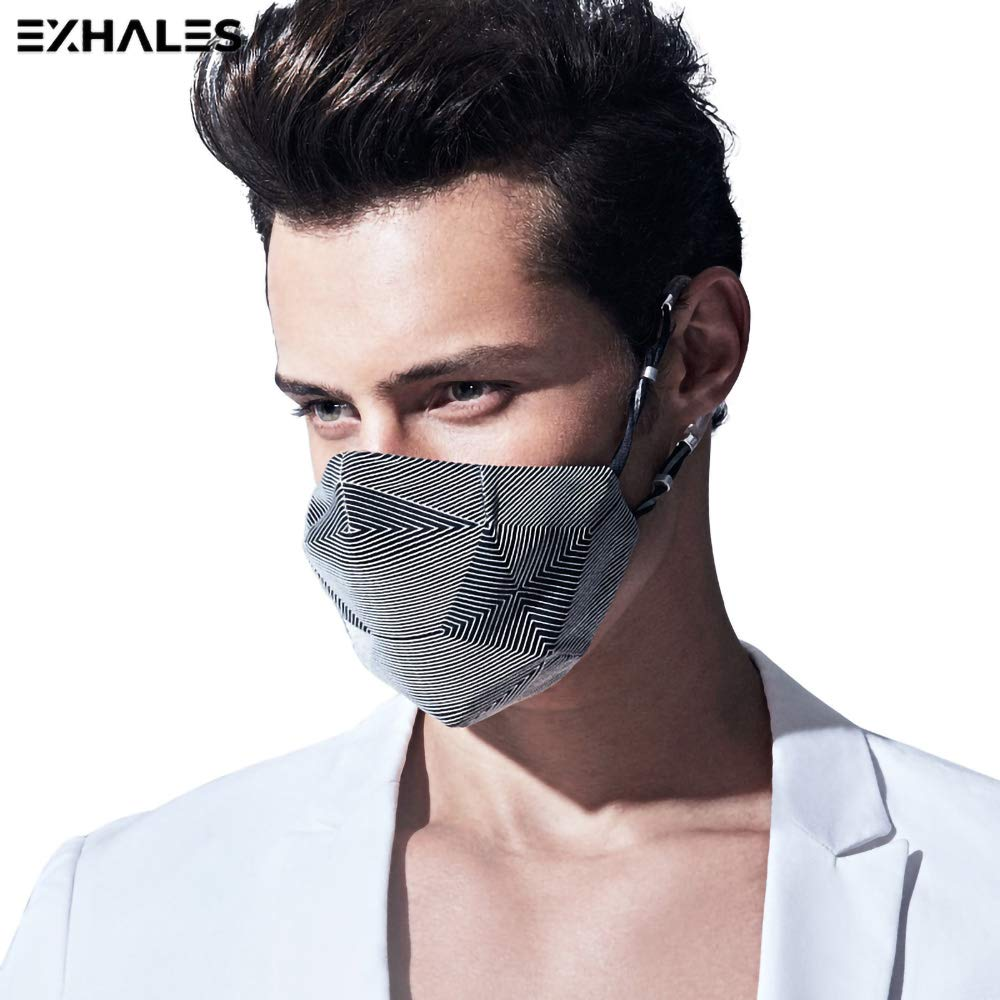 Exhales Silicone Dust Mask | Respirator Mask with PM2.5, Carbon N99 Filters for Pollution Allergy Pollen Mowing Woodworking Running | Windproof Washable Reusable Face Mask for Outdoor (BN)