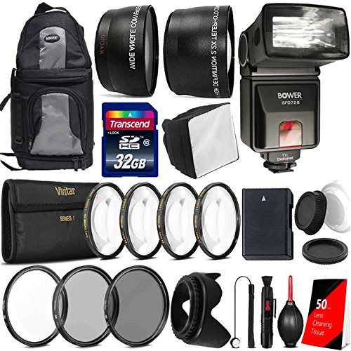Price comparison product image Premium All You Need Accessory Bundle with TTL Flash for Nikon D5600 D5500 D5300 D5200 Digital SLR