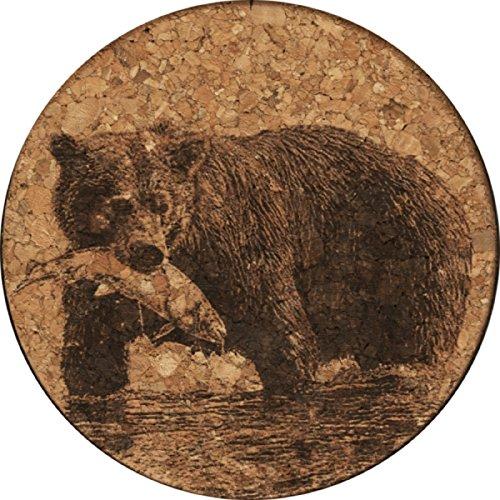 Bear With Fish Cork Coaster