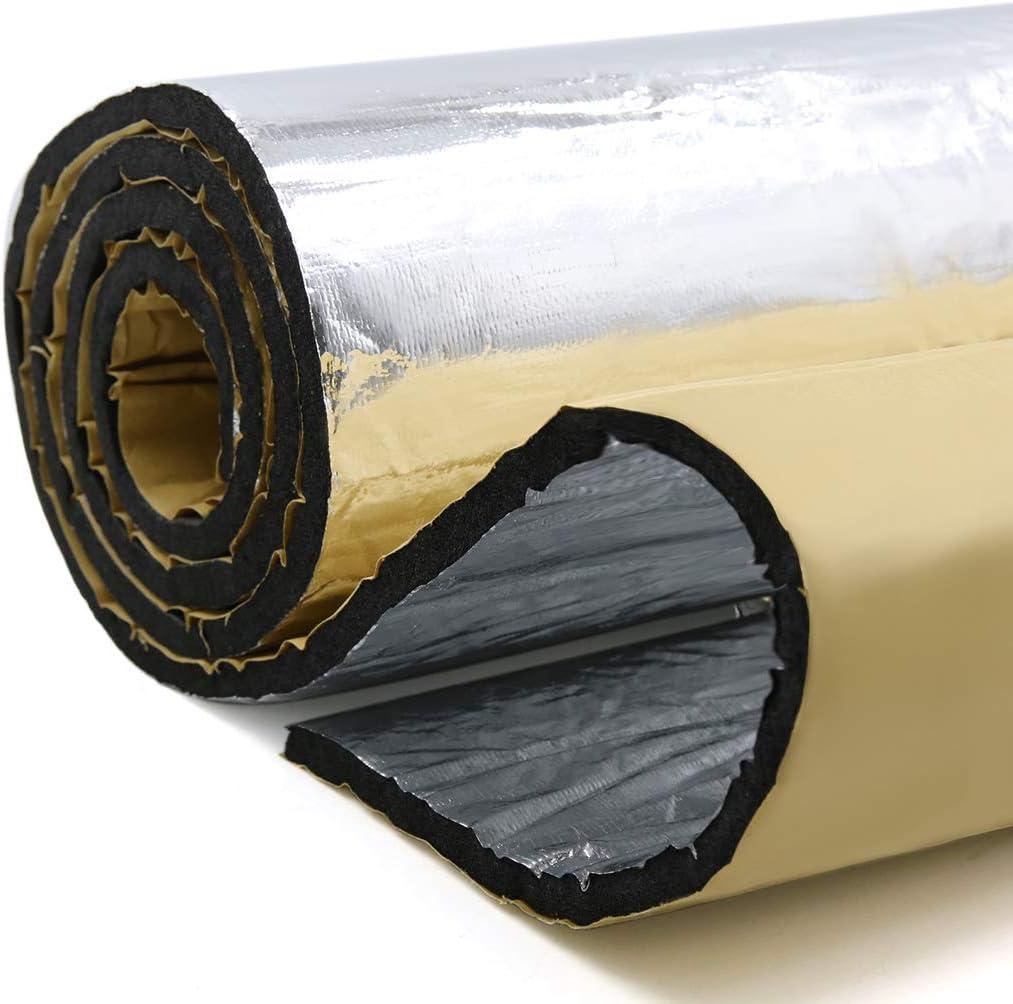 uxcell 60cmx100cm 394mil//10mm 6.46sqft Car Heat Block Sound Deadener Deadening Underlay Insulation Mat Intensive Aluminum Foil Face