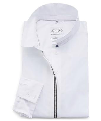 c947e81193a92 byMi - Chemisier - Col Chemise Italien - Femme - Blanc - 34  Amazon ...