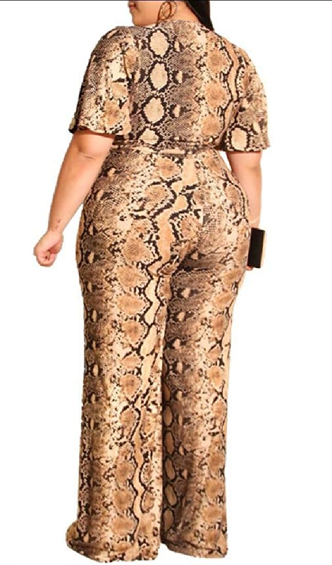 GAGA Womens Fashion Floral Print Jumpsuit Short Sleeve V Neck Wide Leg Long Pants Rompers