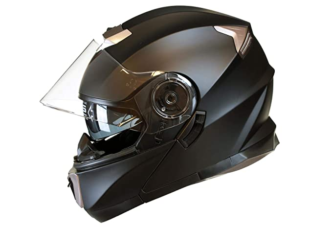 L Qtech Klapp Motorradhelm mit DOPPELVISIER//Sonnenblende Matt Silberfarbig 59-60cm