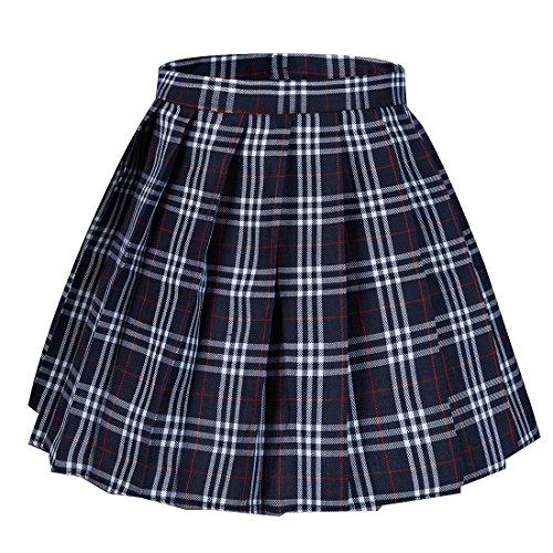 Tremour Women's High Waist Short Plaid Pleated Sexy Halloween Costumes Skirts(XS,Blue)
