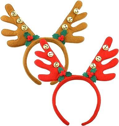 2 × Christmas Headband Reindeer hairband Deer Antlers Horn for Kids and Adults