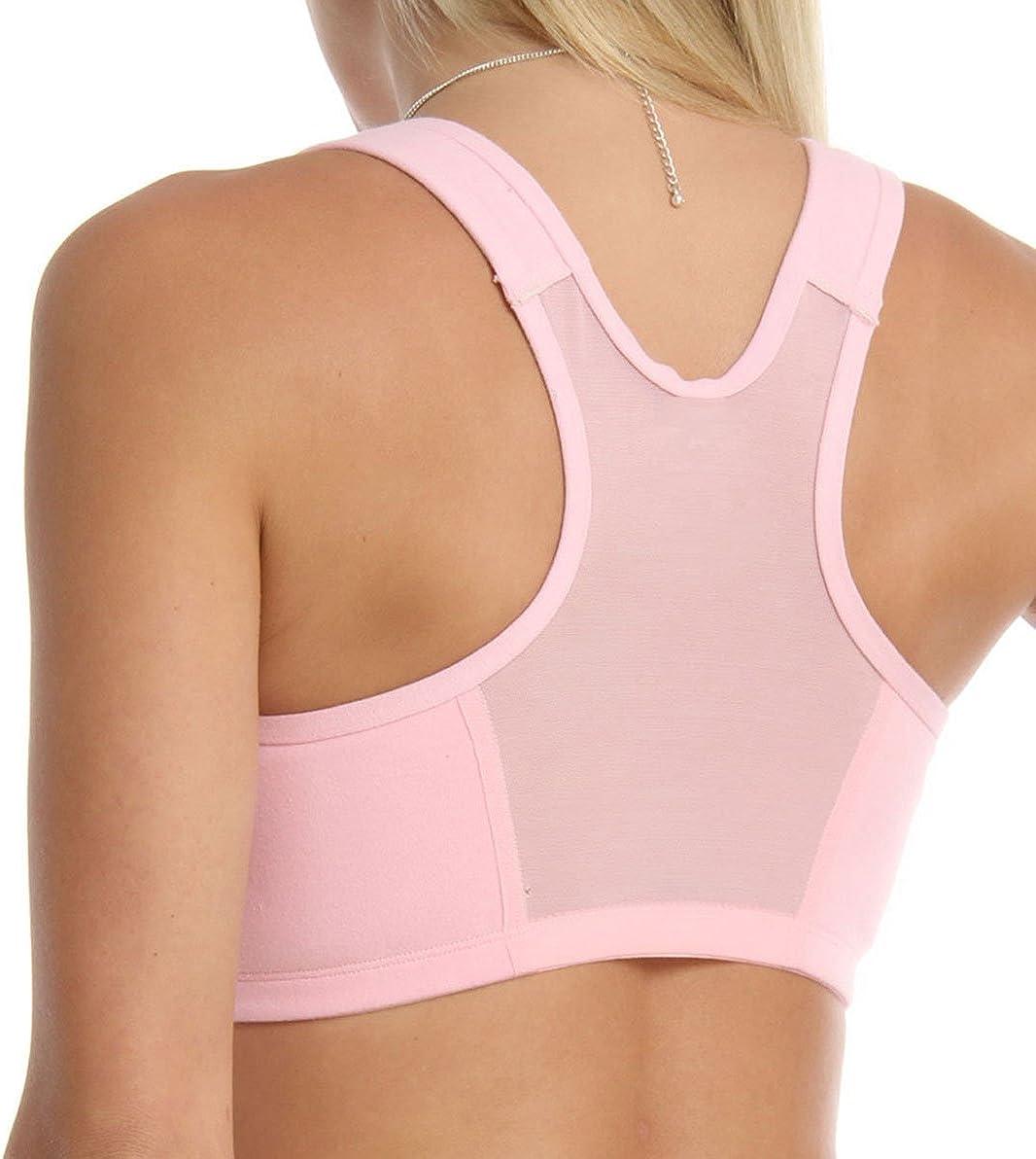VALMONT 42D//E INC Womens Plus-Size Best Comfort Zip-Front Sports Bra Bra Pink