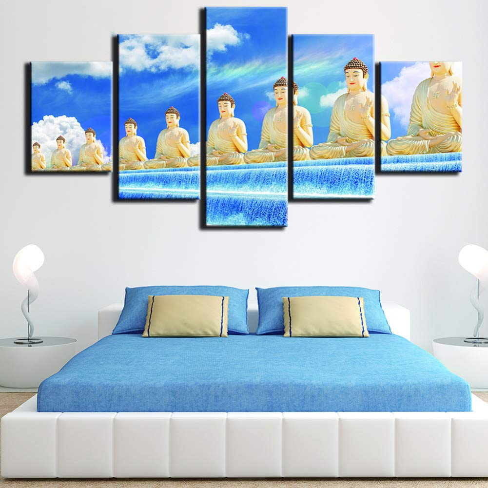marca CNCN Cartel Grande HD Pintura Impresa 5 Panel Buda Buda Buda Paisaje Impresión en Lienzo Arte Decoración para el Hogar Arte de la Parojo Imágenes para la Sala de Estar  20x35 20x45 20x55cm  tienda hace compras y ventas