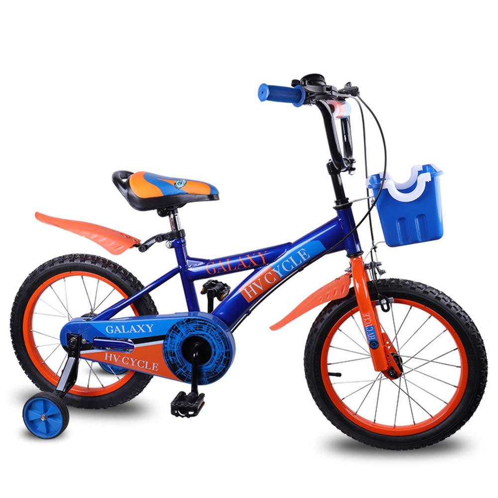 Bicicletas de los niños,Aire Libre Movimiento Pie Rueda Auxiliar De 16 Pulgadas 5-8 años-Azul 45.3inch