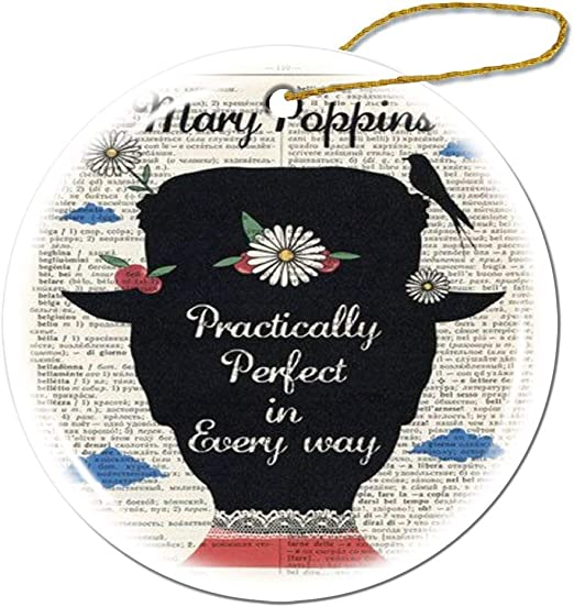 Mesllings Mary Poppins Fun Quote Ornament-Special Ornament-Custom Kids Christmas Ornament-Unique Holiday Decor Gift Ornaments-Personalized Round Porcelain Ornament