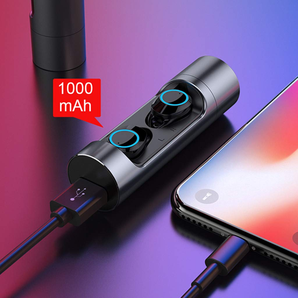 Sonmer X8 Mini Twins Bluetooth 5.0 Stereo HiFi Noise Reduction Earbuds,Build-in Mic,With 1000mAH Charging Dock (Gray) by Sonmer_Earphone (Image #6)