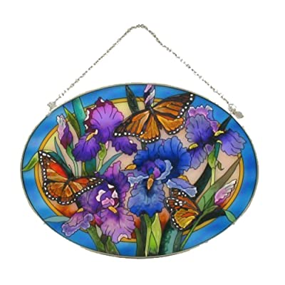 Amia Oval Suncatcher with Iris and Butterfly Design, Hand Painted Glass, 6-1/2-Inch by 9-Inch: Home & Kitchen